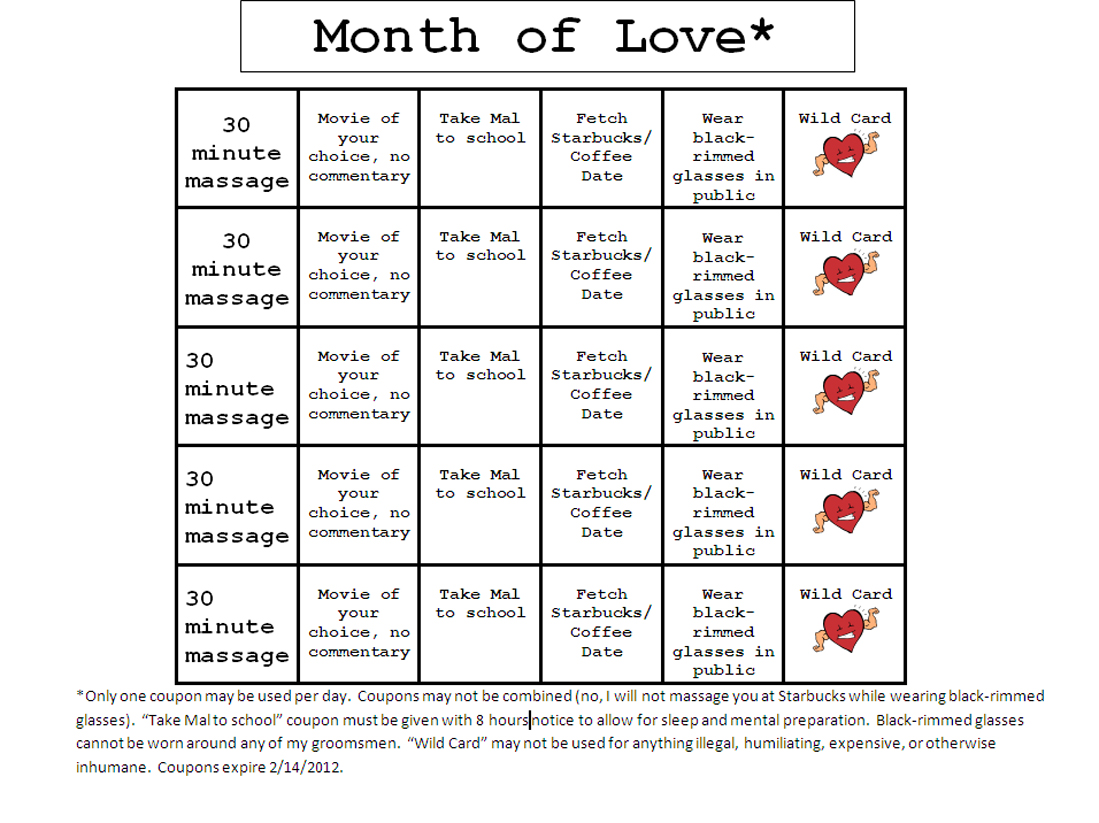 Blank love coupons new calendar template site for Love coupons for him template