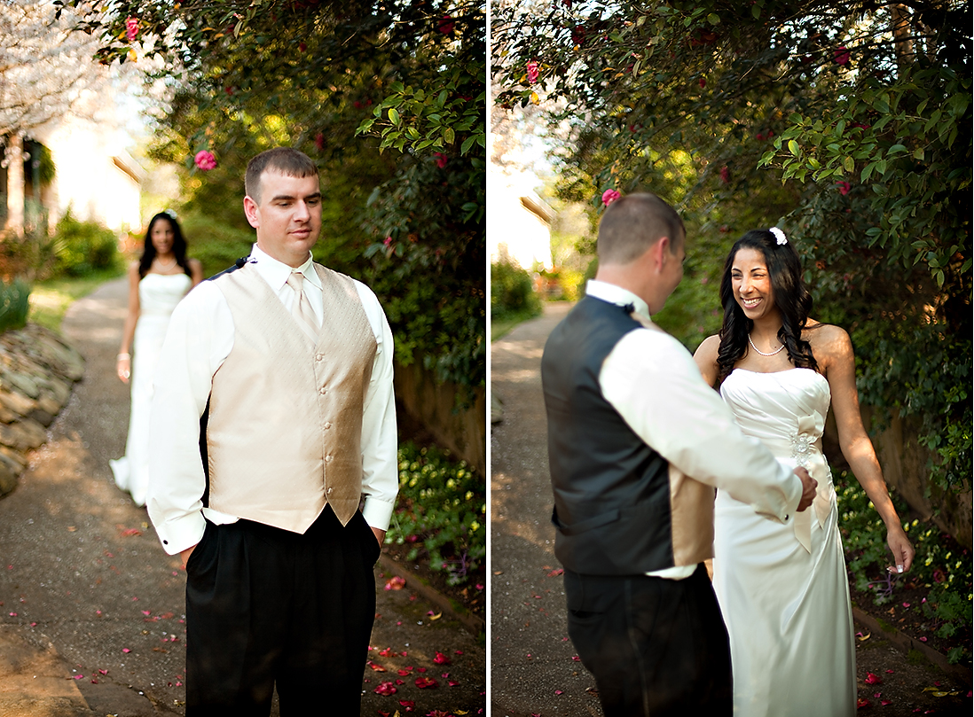 09 first look wedding photographer Jasmine Hill Garden Wedding: Karen + Jerrys Orange, Ivory, & Champagne Spring Wedding