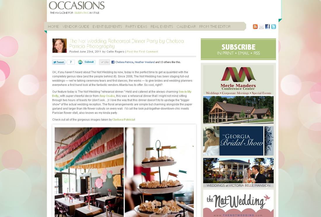 occasions online not wedding rehearsal atlanta ga wedding photographer Published! The Not Wedding Rehearsal: Featured on Green Wedding Shoes & Occasions Online