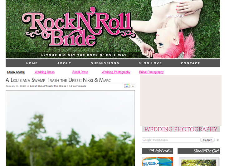 featured on rock n roll bride Published on Rock N Roll Bride: Louisiana Swamp Shoot