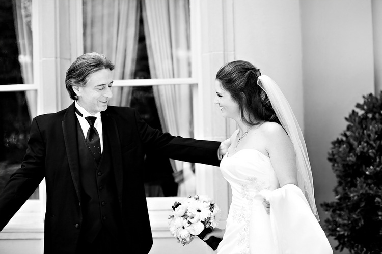 Father daughter first look on wedding day
