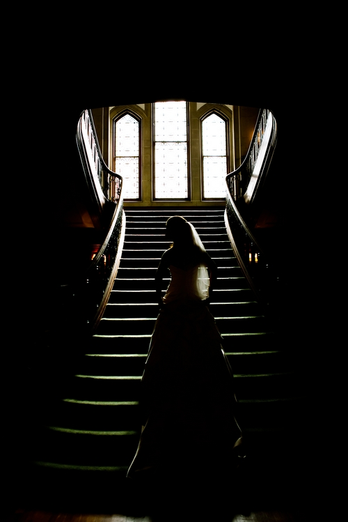 bride on grand staircase at Callanwolde Fine Arts Center