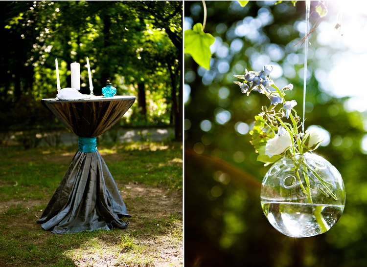 glass orb filled with water and flowers wedding ceremony details