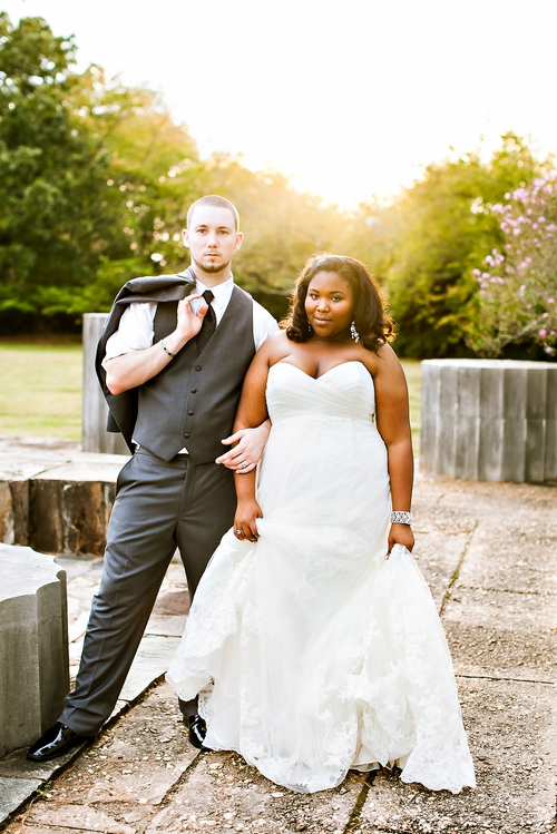 sunset wedding photo at jasmine hill gardens in wetumpka