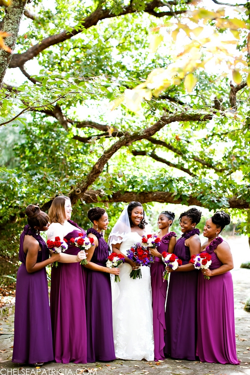 fushia and purple bridesmaids dresses at jasmine hills gardens in wetumpka al