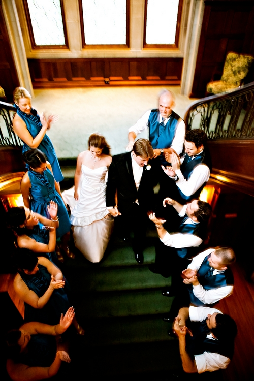 callanwolde wedding bridal party on stairs
