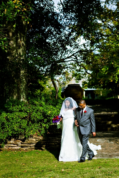 bride and father entering ceremony at jasmine hill garden wedding