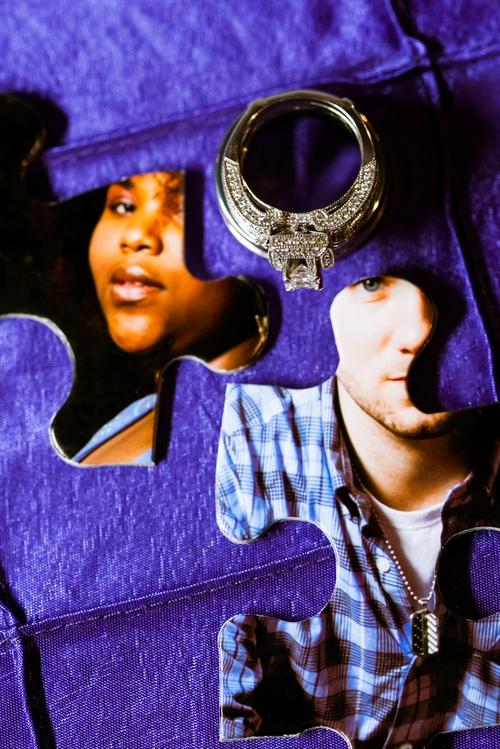 engagement photo puzzle pieces