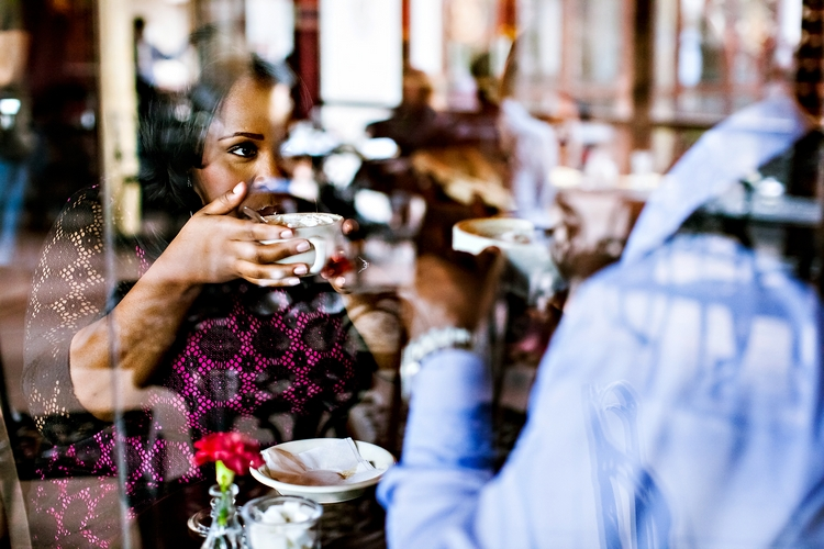 romantic coffee date at cafe intermezzo engagement photography