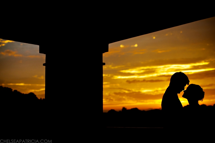 sunset silhouette atlanta national golf club wedding