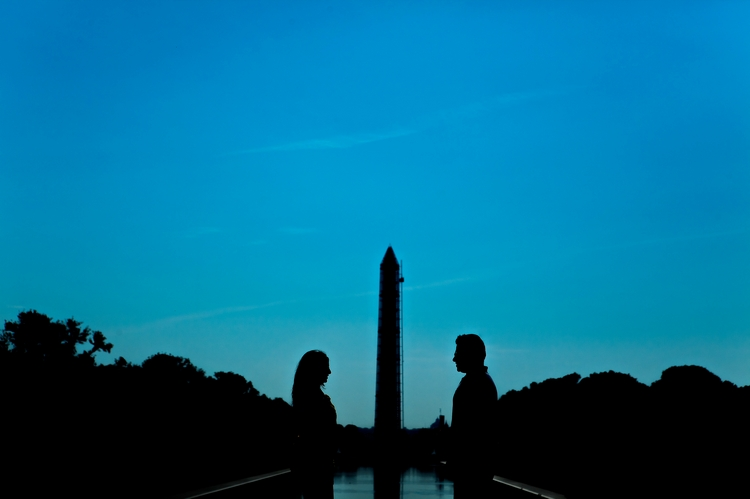 artistic washington monument engagement photography